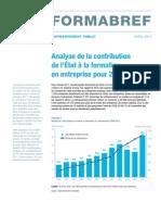 Analyse de la contribution de l'État à la formation continue en entreprise pour 2011