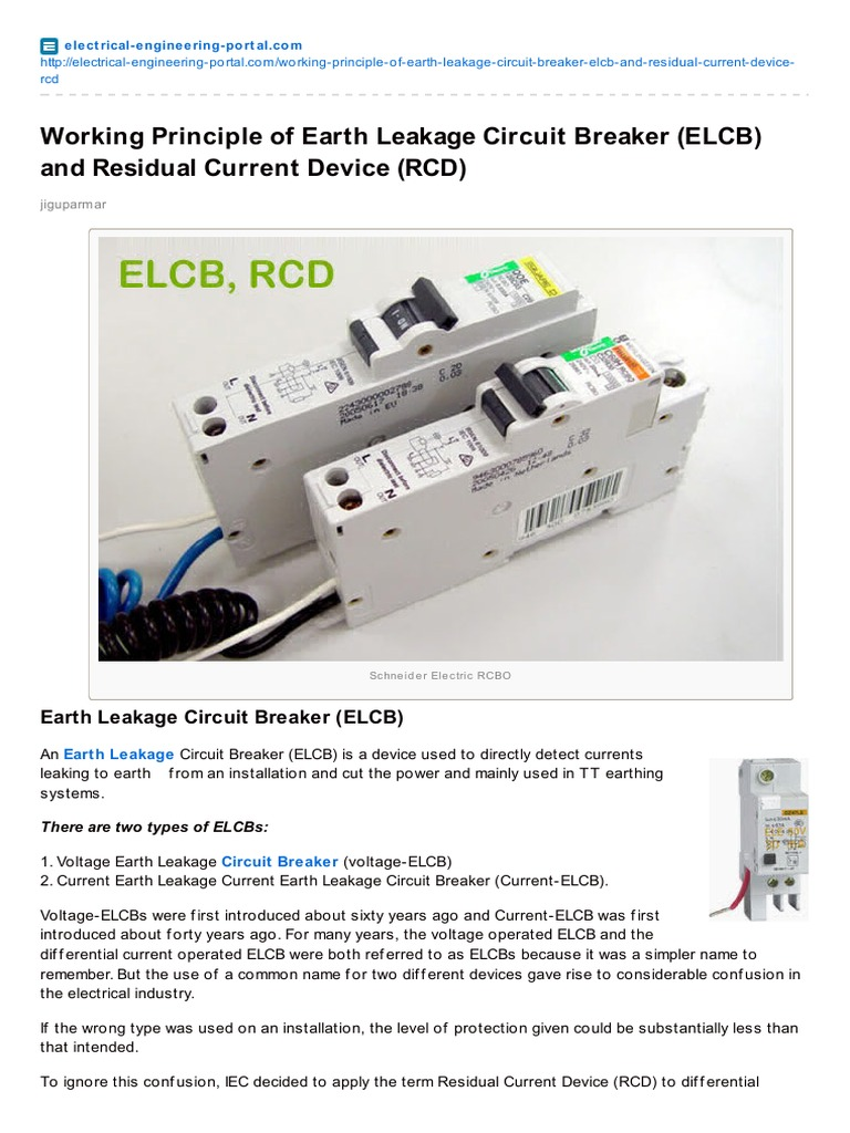 Electrical Engineering Portalcom Working Principle Of Earth Leakage Circuit Breaker Elcb Electronic Projects And Residual Current Device Rcd Inductor Relay
