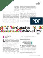 Lettre régionale de la réussite éducative n°3 - Avril 2014
