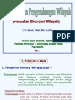 Perencanaan Pengembangan Wilayah (Penilaian Ekonomi Wilayah)