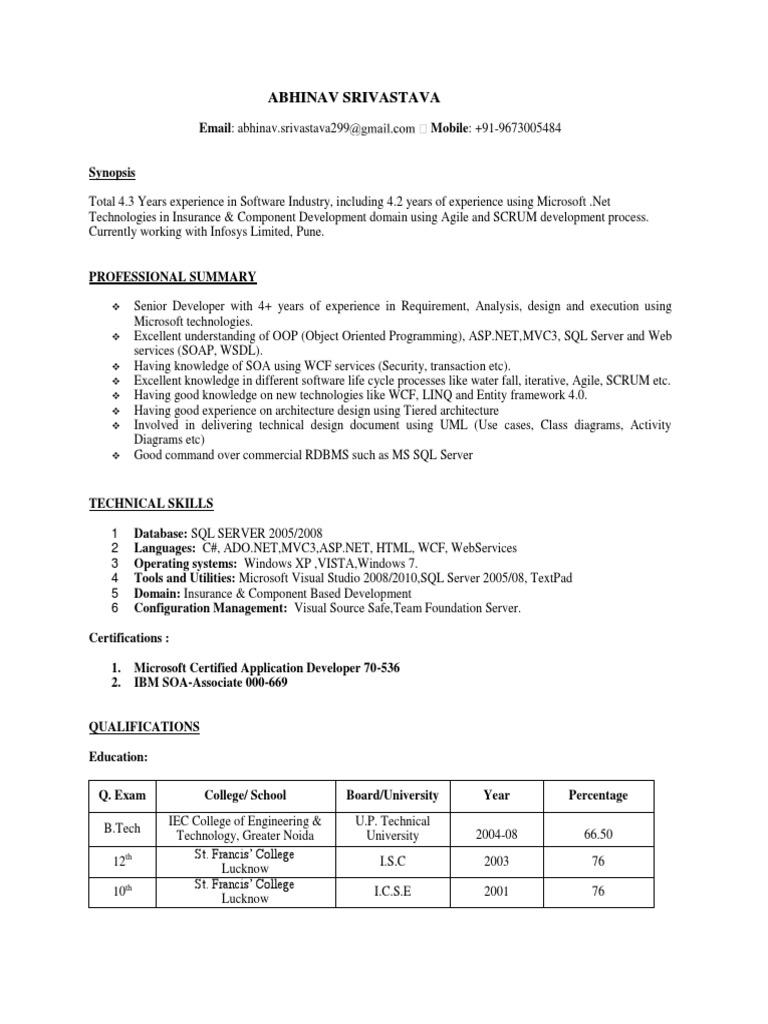 Abhinav srivastava resume microsoft sql server component based abhinav srivastava resume microsoft sql server component based software engineering xflitez Images