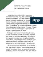 SEGUNDO MENSAJE DE DIOS PARA LA IGLESIA EVANGÉLICA EN VENEZUELA.