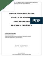 Ergonomia y Lesiones Dorsolumbares_ejemplo de Personal Sanitario Geriatrico