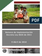 Balance de Implementación Decreto Ley 4633 de 2011