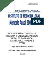 estadisitica División Medico Legal B de Huaura  2005 - 2008