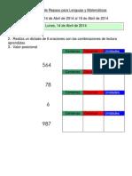 Actividades de repaso para Lenguaje y Matemáticas 1ero A
