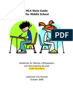 mla style guide for middle schools--guidelines for making a bibliography and documenting sources-draft
