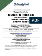 Media Release Guns n Roses Support Added Sn