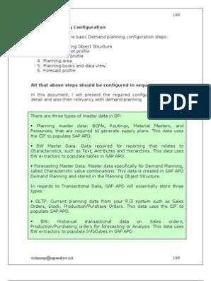 Demand Planning Configuration | Program Optimization