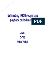 Estimating IRR With Fake Payback Period-L10