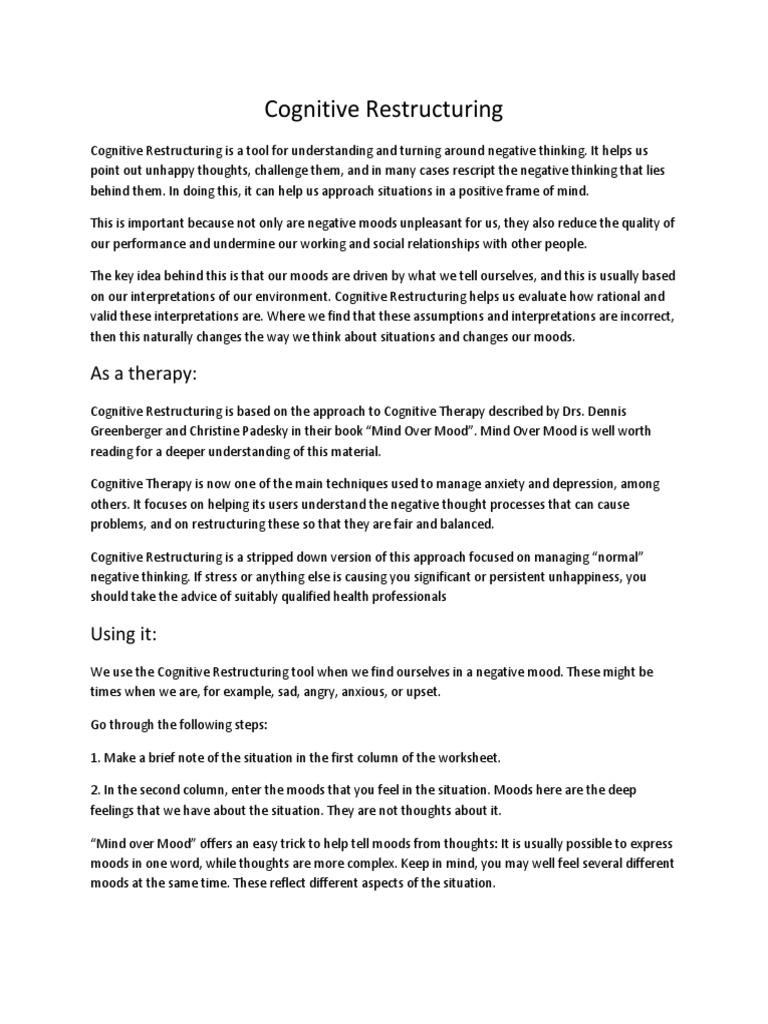 worksheet Mind Over Mood Worksheets workbooks mind over mood worksheets pdf free printable cognitive restructuring psychology science worksheets