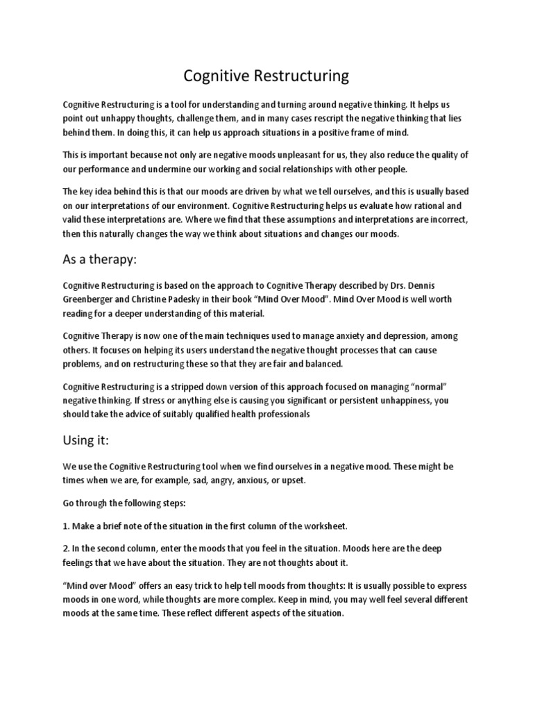 cognitive restructuring | Mood (Psychology) | Psychology & Cognitive ...