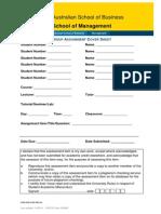 Group Assignment Coversheet