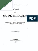 Estudos sobre Sá de Miranda, por Sousa Viterbo, vol. 3