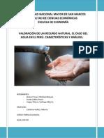VALORACIÓN DE UN RECURSO NATURAL. CASO DEL AGUA EN EL PERÚ. CARACTERÍSTICAS Y ANÁLISIS..docx