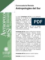 Convocatoria Revista Antropologias Del Sur