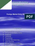 Intertnational Marketing Management_foreign Market Entry Stratigies