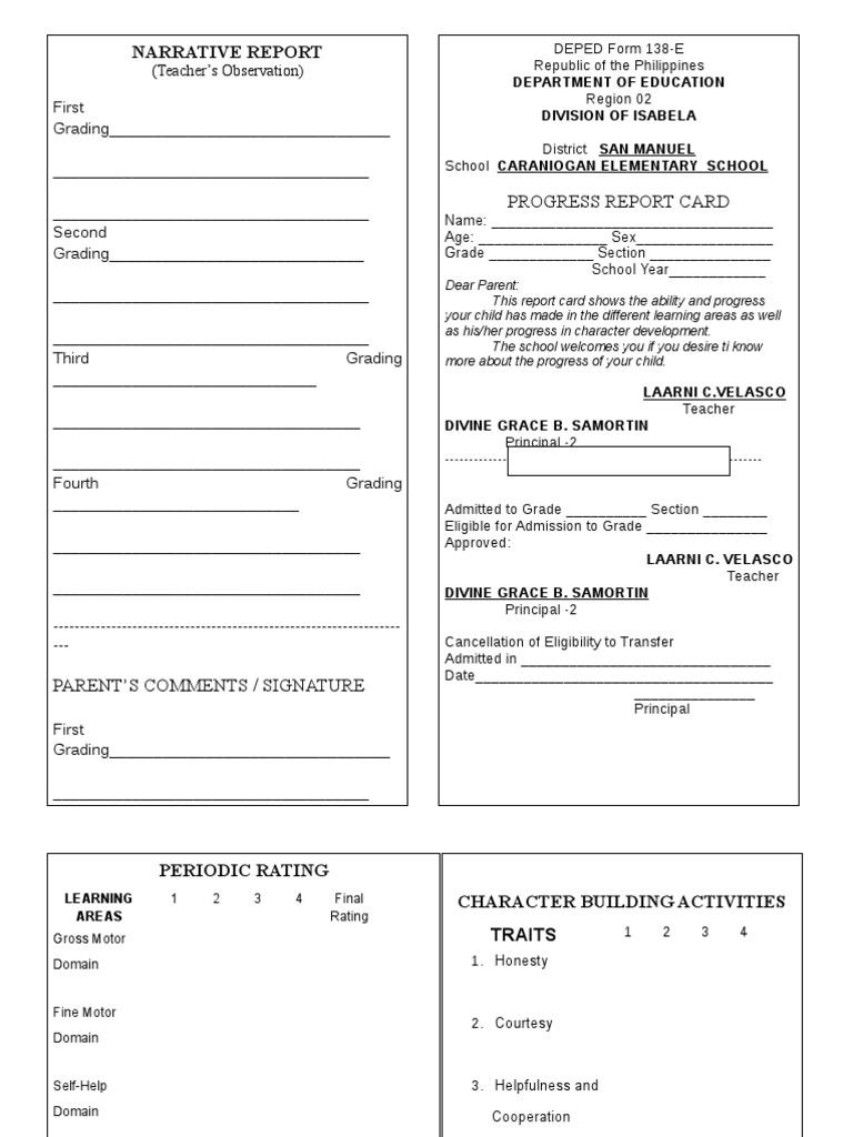 Report card sample for preschool