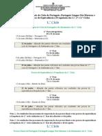 Calendário das provas finais e provas de equivalência