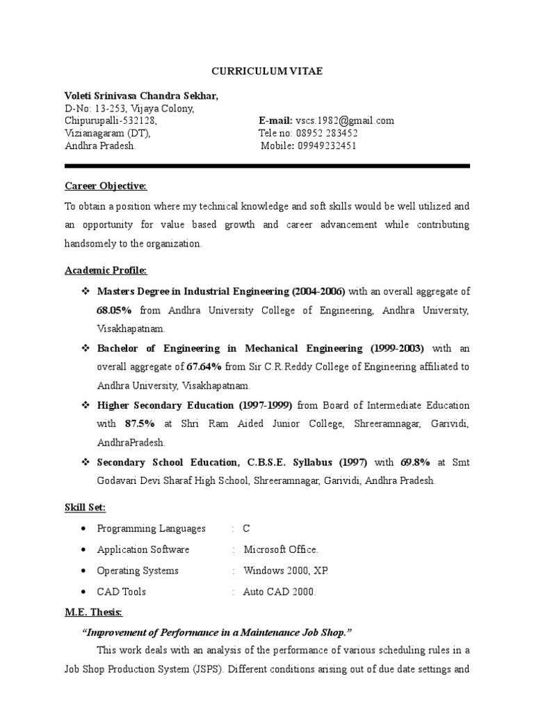 detailed resume engineering academia
