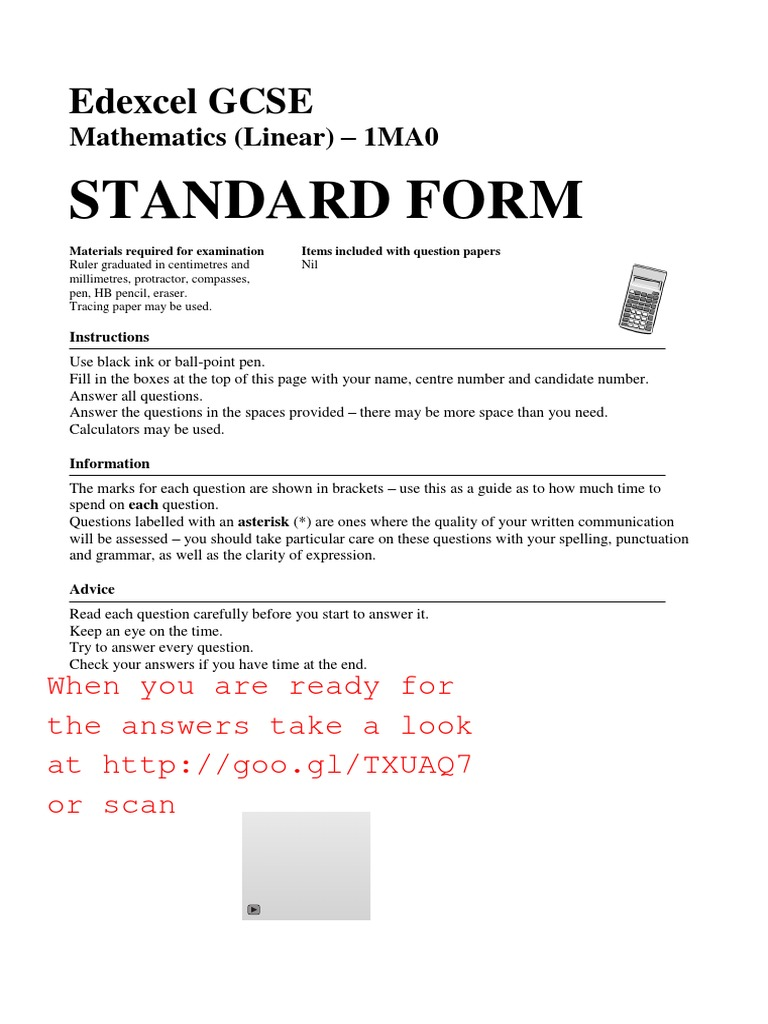 Beautiful standard 1 mathematics gallery worksheet mathematics gcse maths topics standard form grade a a and b questions falaconquin