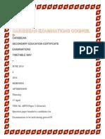Caribbean Council Examination (Cxc) Timetable 2014
