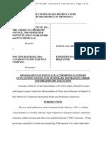 Plaintiffs' TRO and PI Brief in Chlorine Institute, Inc. et al v. Soo Line Railroad, No. 14-cv-01029 (D. Minn.)