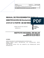 INS. Manual de Procedimientos Para La Identificacion de E. Coli =157-H7 a Partir de Materia Fecal