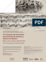 CONVOCATORIA al VI Coloquio del Seminario Permanente de Historia y Música en México