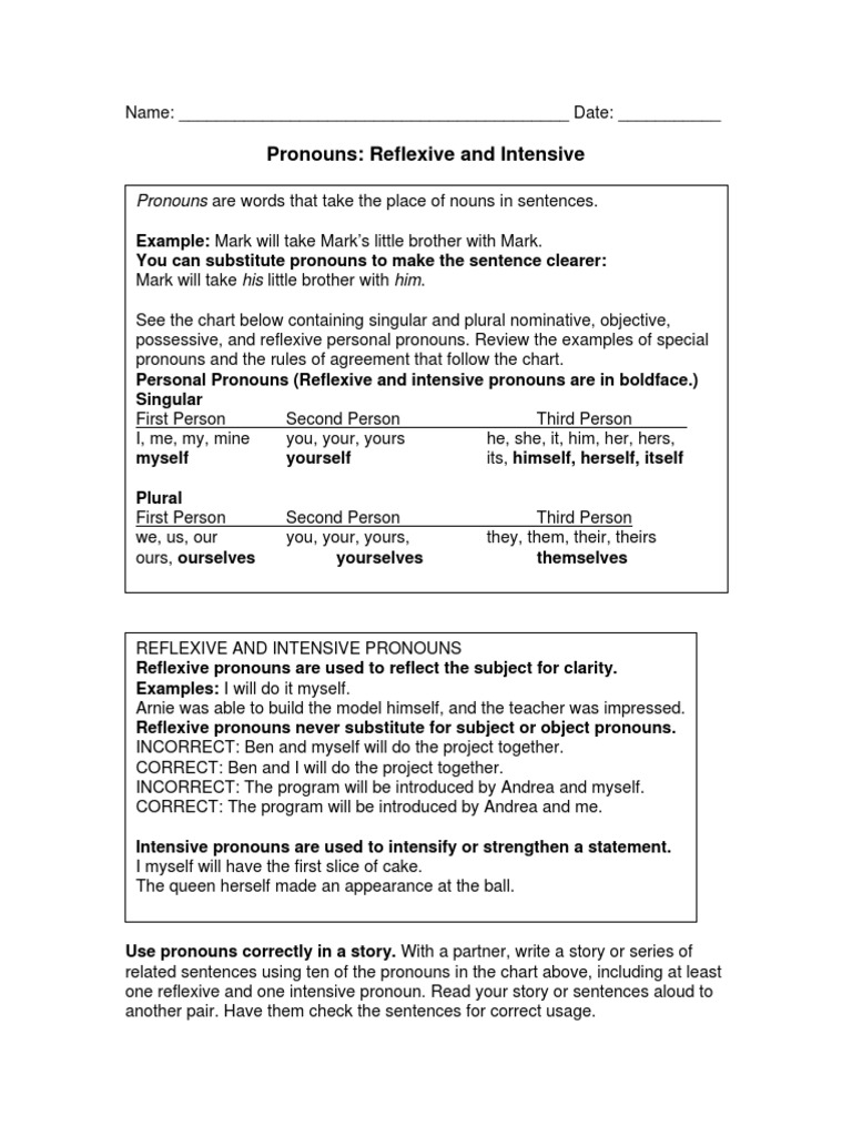 Worksheets Reflexive And Intensive Pronouns Worksheet 56 pronouns grammatical number pronoun