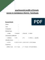 A Study on Psychosocial Profile of Female Nurses