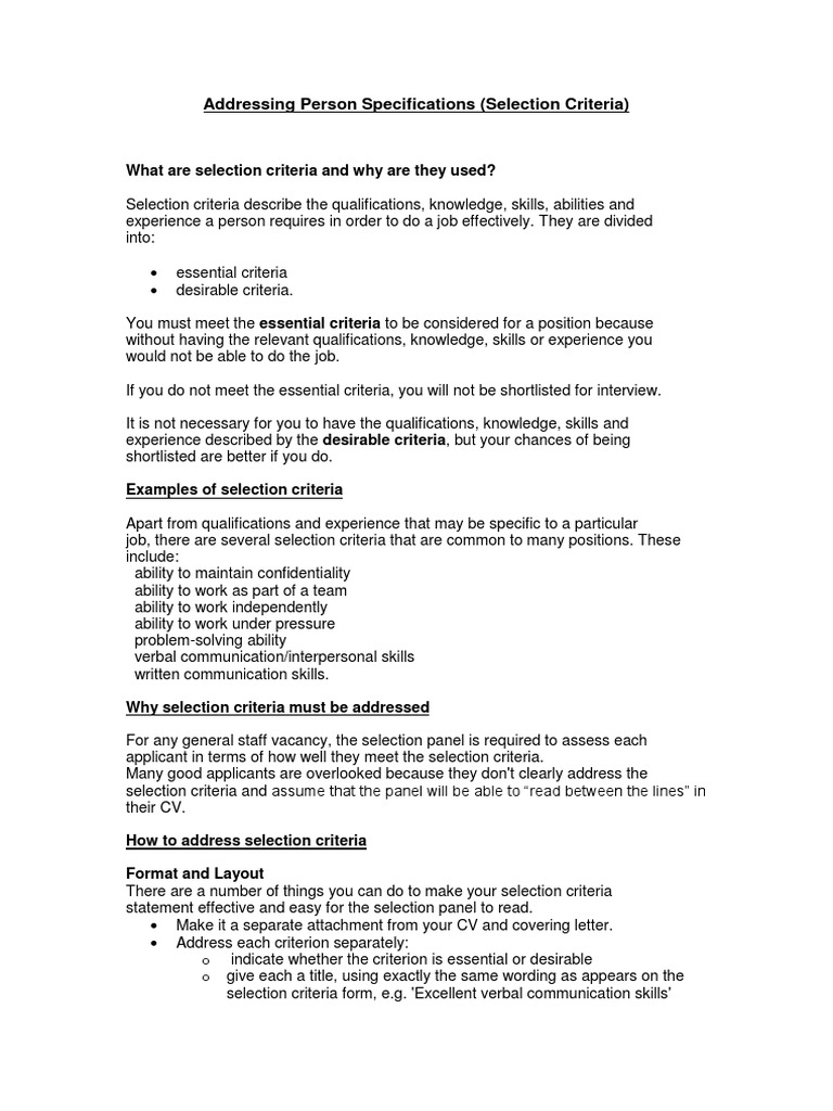 selection criteria examples administration