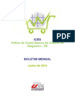 Indice Cesta Basica Junho 2013