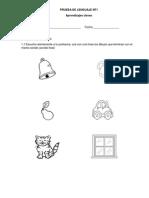 Prueba de EVALUACION Matematicas y Lenguaje NT1
