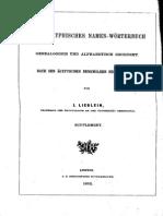 Lieblein J. 1892 Dictionnaire de Noms Hieroglyphiques. Supplement