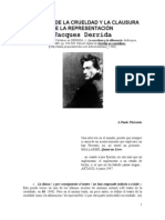 Derrida Jacques. El Teatro de La Crueldad y La Clausura de La Representacion Lectura Obligatoria