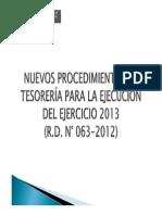 Nuevos Procedimientos de Tesoreria 2013