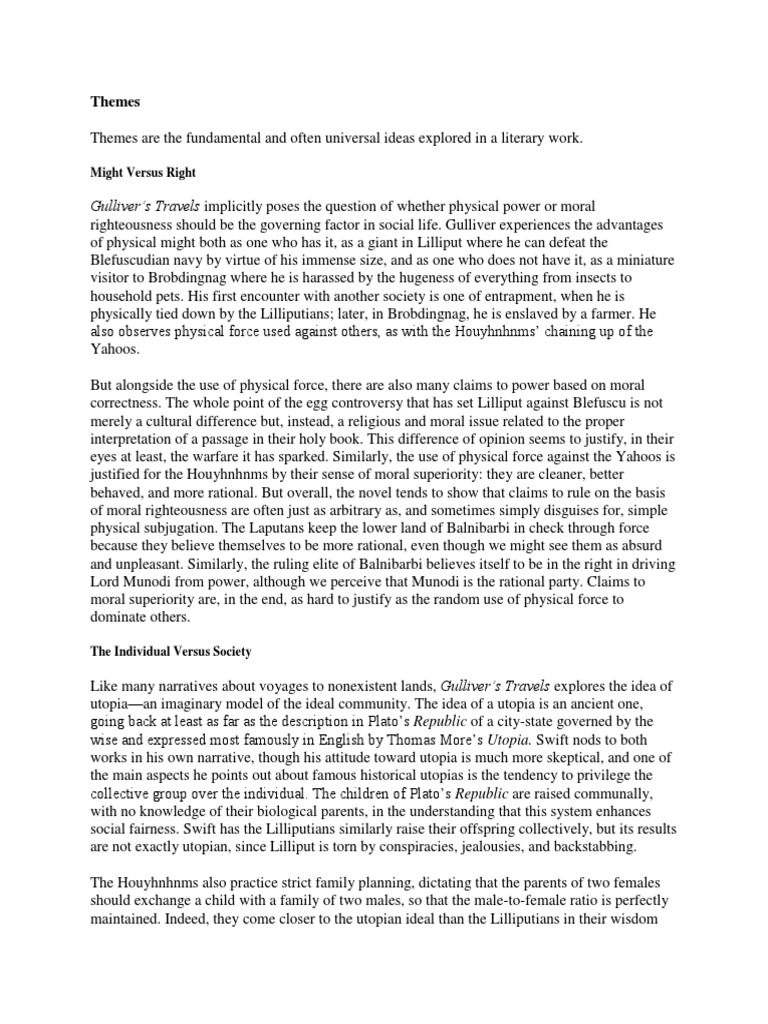 Themes Motifs and Symbols | Gulliver's Travels | Utopia Universal Themes In Literature Pdf