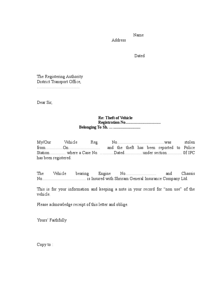 Format letter to rto for vehicle theft spiritdancerdesigns Image collections