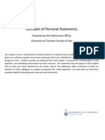 UofT Law Personal Statements Examples