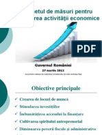 Pachetul de Masuri Pentru Relansarea Activitatii Economice 27 Martie 2012