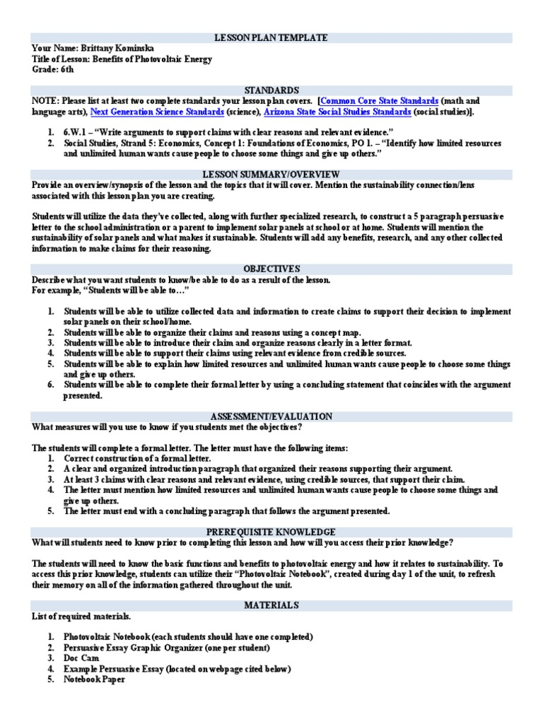 solar energy persuasive letter lesson plan | Photovoltaics | Lesson Plan