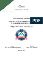 Analiza finansijskih izvestaja kompanije Knjaz Milos
