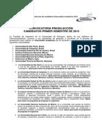 Convocatoria preselección de candidatos-intercambio académico2015