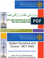 MCT 3423  SYSTEMS DYNAMICS AND CONTROL