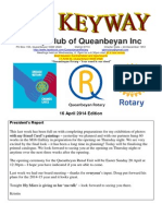 The Keyway - 16 April 2014 edition - weekly newsletter for the Rotary Club of Queanbeyan