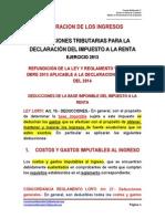 Deducciones Del Impuesto a La Renta Ley y Reglamento a Dbro 2013