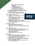 master list of tasks paras