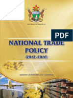 Zimbabwe National Trade Policy Document 2012 2016