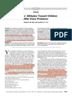 Listeners' Attitudes Toward Children with Voice Problems